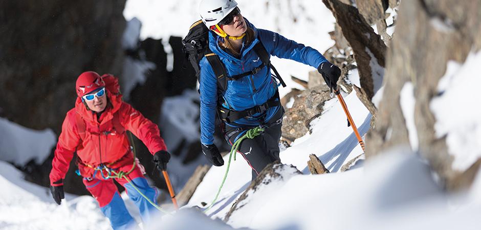 Bergsteiger im Winter.