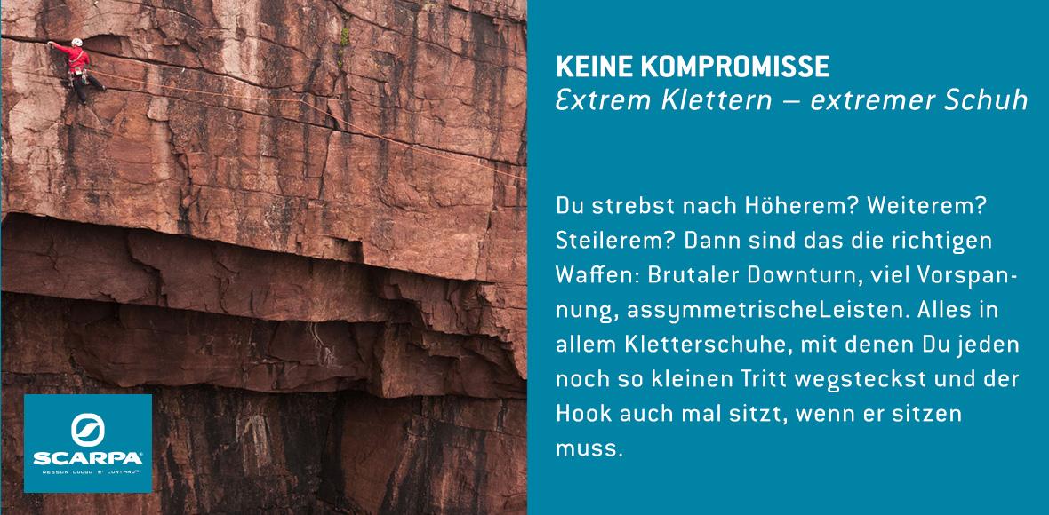 Keine Kompromisse. Extrem Klettern - Extremer schuh.