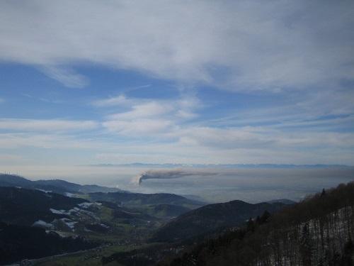 Inversionswetter im Oberrheingraben vom Kandel aus fotografiert